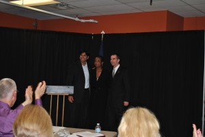 Lt. Governor Candidates, Aneesh Chopra (l) and Ralph Northam (r) with forum moderator Dr. Kim Allen